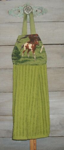 Bay Tobiano Paint Foal Horse Hanging Finger Tip Powder Room Hand Towel Handmade