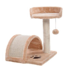 Cat Tree Post Scratcher Furniture Play House Pet Bed Kitten Toy Beige New