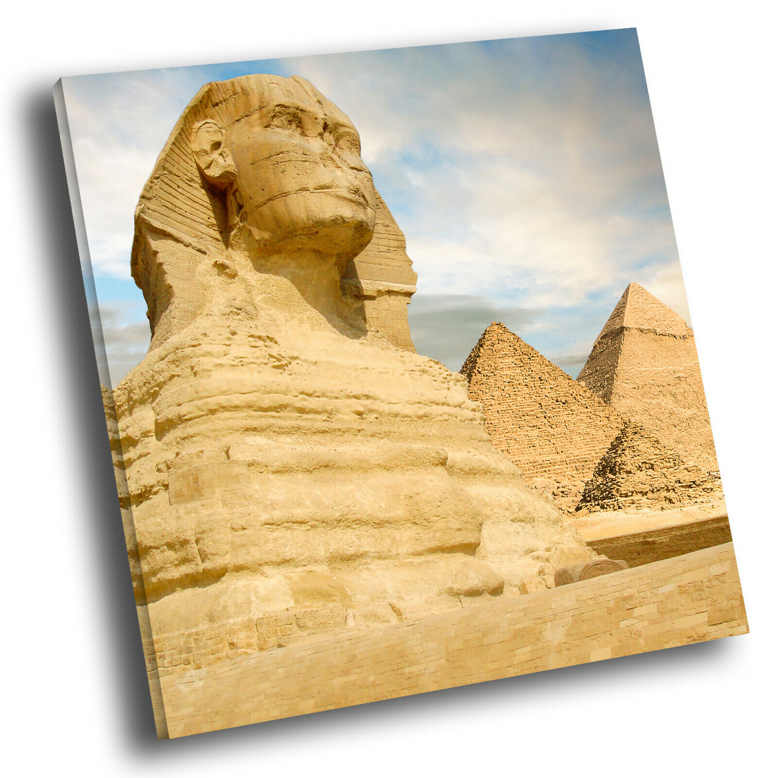 Blau Gelb Sphinx Egypt Square Scenic Canvas Wall Art Large Picture Print