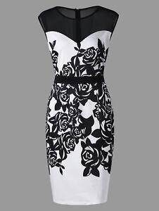 Elegant-Plus-Size-Women-Dress-Flower-Print-Mesh-Panel-Sheath-Formal-Work-Party