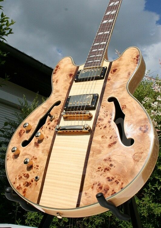 Weller Semiakustik E Gitarre ES Style, Ahorn Grover, Poplar + Flame, Linkshänder