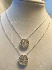 (TWO) BEAUTIFUL Silver Rhinestone Crystal Encrust HEART Pendant Necklaces 1-N25