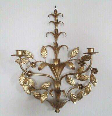 Vintage Italian Florentine Gold Gilt Metal Candle Wall Sconce Ebay