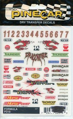 """Pinecar Formula For Racing Machine 4"""" X 5"""" Dry Transfer #p319 Decals Models & Kits"""