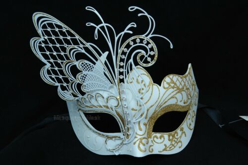 Fairy Butterfly White Masquerade ball prom eye mask encrusted laser cut crytals