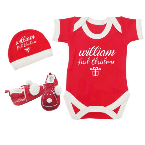 Personalised Name First Christmas Gift Girls Boys Baby Vest Hat Shoes Tiny 0-6M