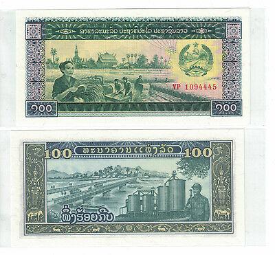 100  KIP  1979  Prefix MU LAO LAOS P 30   LOT 2  PCS  Uncirculated