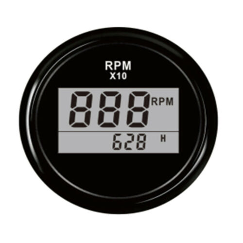 52mm Boat Digital Tachometer Gauge Meter RPM w// Hour Meter Black Black