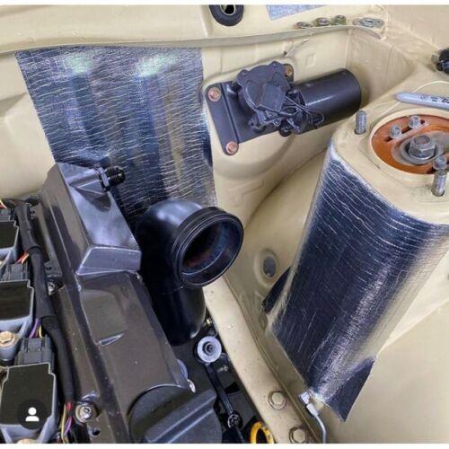 HEAT SHIELD MATT 315MM X 1M ALUMINISED FIBREGLASS WITH ADHESIVE RATED 590⁰C