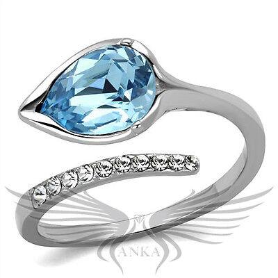 Brilliant Pear Cut Top Grade Blue Crystal Engagement Fashion Ring TK2174
