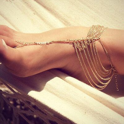 Delicate Beach Multi Tassel Toe Ring Bracelet Chain Link Foot Jewelry Anklet