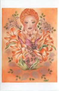 VICTORIAN ORANGE LILY GARDEN FLOWERS FAIRY PORTRAIT WOMAN MINIATURE ART PRINT