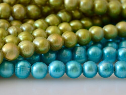 9-11mm Large Hole Blue /& Green Color Potato Freshwater Pearl Hole 2.1mm  #794