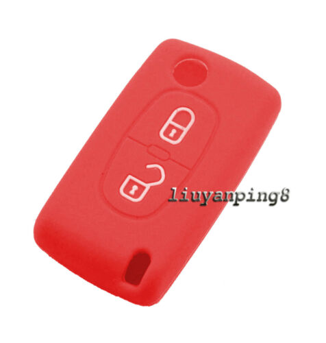 2 Buttons Silicone Skin Cover Remote Key Case Shell For Peugeot