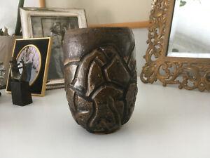 Vtg Mid Century Earthgender Stoneware Era Ceramic Studio Pottery Vase Planter