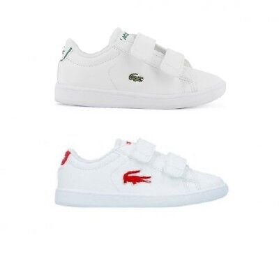 infant kids baby lacoste carnaby evo trainers shoes white red  white green