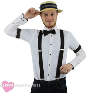 7dcf18f6cac BLACK 1920 S BARBER SHOP SET STRAW BOATER HAT BOW TIE BRACES AND ...