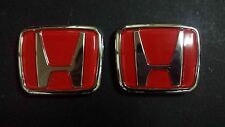 Civic Integra Type R DC2 EK9 Front PLUS Rear Emblem Red S2A 3M Sticker Logo x2