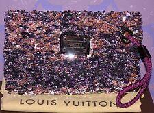 Louis Vuitton $2k+ ROCOCO POCHETTE Monogram Sequin Wristlet XL Clutch *LIMITED!*