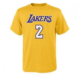 new arrival 31de7 69455 Details about Youth Los Angeles Lakers Lonzo Ball Adidas Yellow Jersey  T-Shirt