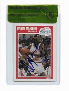 KANSAS DANNY MANNING signed autographed 1989-90 FLEER ROOKIE CARD RC BECKETT BAS