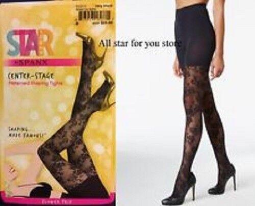 Star Power By Spanx Flower Trip Tights Very Black Size A FH2015