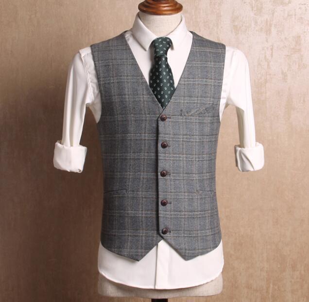 Mens British Business Formal Dress Slim Suit Button Cotton Vest Waistcoat Tops