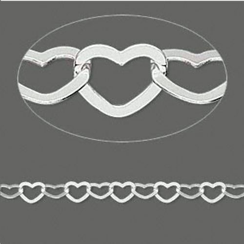 Chain By The Foot sterling silver 5x4mm HEART link  NEW!  Custom length!