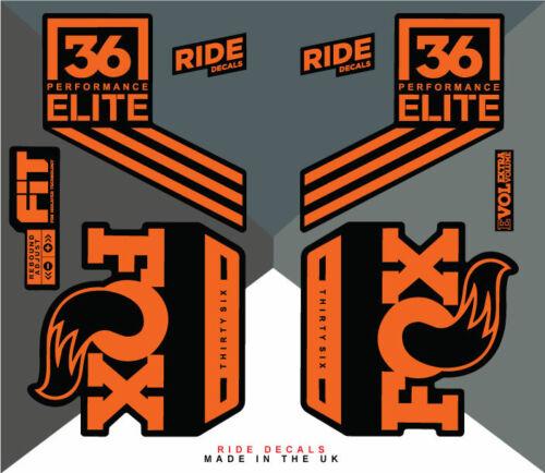 DH Enduro Orange Fox 36 Factory Elite Sticker Decal Sets