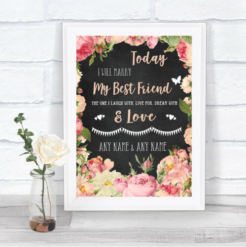 Chalk Pink Peach Shabby Chic Roses Today I Marry My Best Friend Wedding Sign