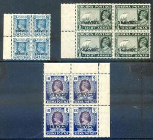 Burma 1939 Service 4a, 8a & R1 fine unmounted mint blocks 4 (2020/12/11#02)
