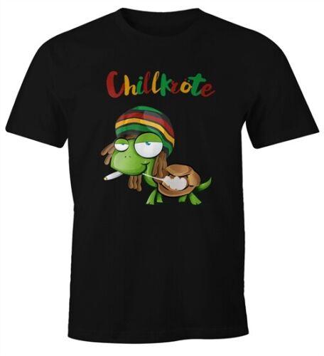 T-Shirt Hommes chillkröte Tortue rastafrisur Joint Comic Style FUN-SHIRT