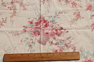 """Romantic French Baskets, Roses & Ribbons Antique Cotton Fabric~L-35"""" X W-32.5"""""""