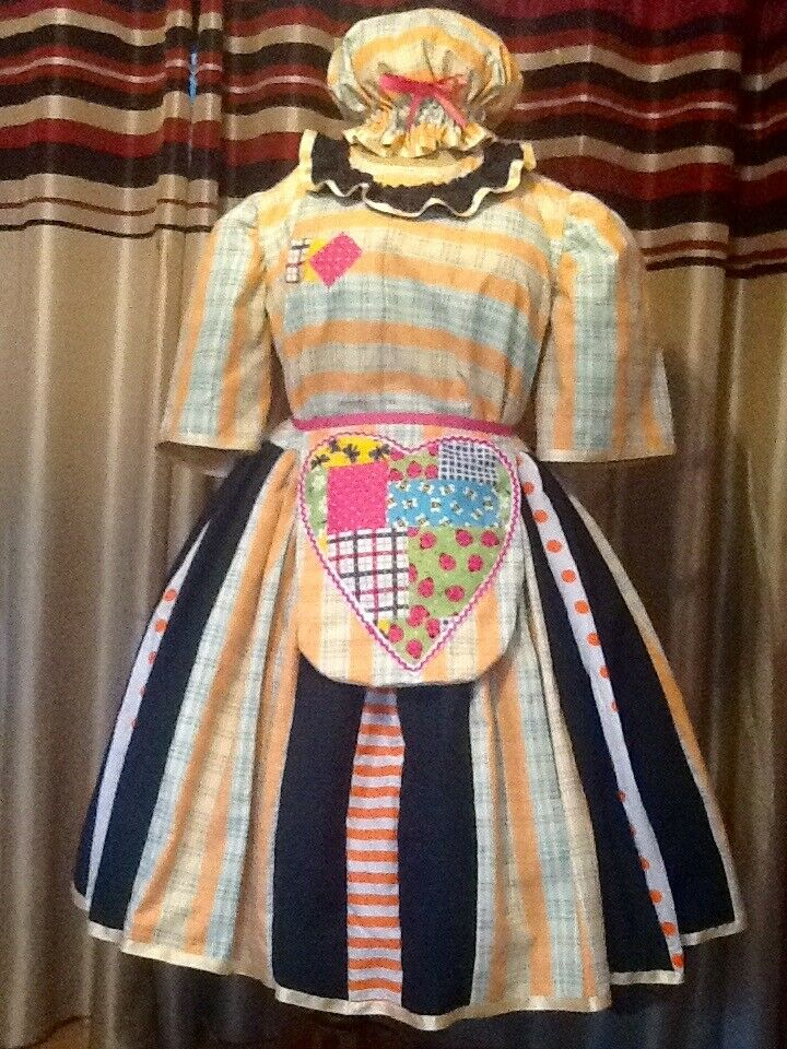 Orange check and green Pantomime Dame Costume Theatre Stage Panto Outfit Used