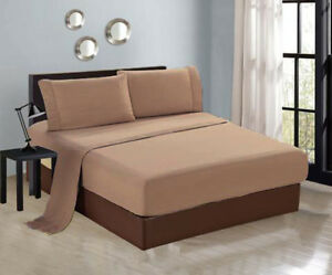 e97c80f37006 4-PC Luxury Taupe Queen Sheet Set Flat Fitted Pillows New 1800TC | eBay