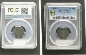 Empire 10 Pfennig J.298 1922 E Fast Mint State PCGS MS63 (36176)