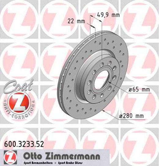 600.3233.52 Zimmermann2x Bremsscheibe Sport-Bremsscheibe Coat Z Vorne