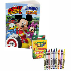 Mickey Mouse Jumbo Coloring /& Activity Book AND 24 Official MIckey Mouse Crayons