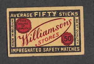 Ancienne étiquette allumette Belgique NN31 Williamsons 3f2l5ASU-09092642-324737606