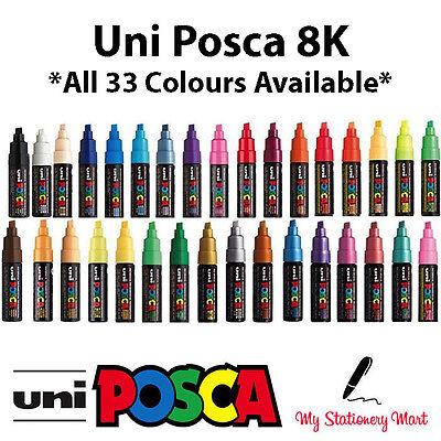 Uni Posca PC-8K Light Blue Paint Marker Pens Glass Metal 8mm Broad Chisel Nib
