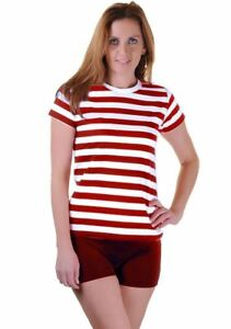 Womens-Black-Red-Blue-And-White-Striped-Book-Week-T-Shirt-Ladies-Fancy-Top-Lot