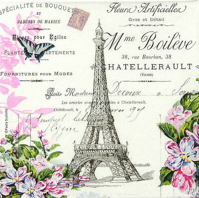 4x Single Table Paper Napkins for Party, Decoupage, Craft Vintage La Tour Eiffel