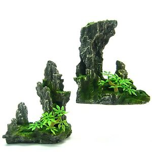 2pcs mountain aquarium ornament set tree rock cave stone for Aquarium decoration set