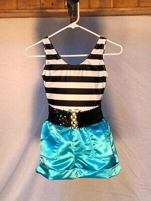 Black /& White Striped Youth Leotard Dance Costume
