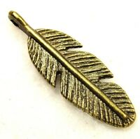 10pcs. Tibetan Antique Bronze 3d Feather Charms Pendants Earring Drops W73