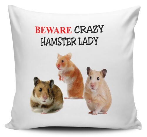 Beware Crazy HAMSTER LADY Novelty Cushion Cover