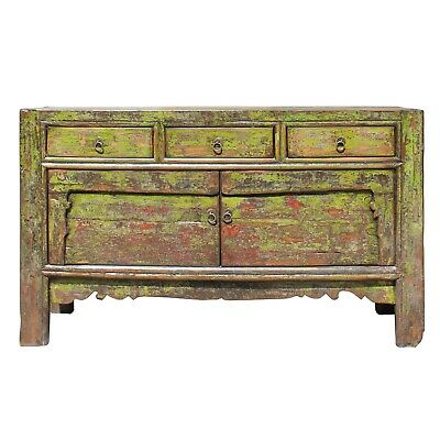 Chinese Distressed Teal Blue Green 4 Drawers Low Bench Cabinet Table cs4551E