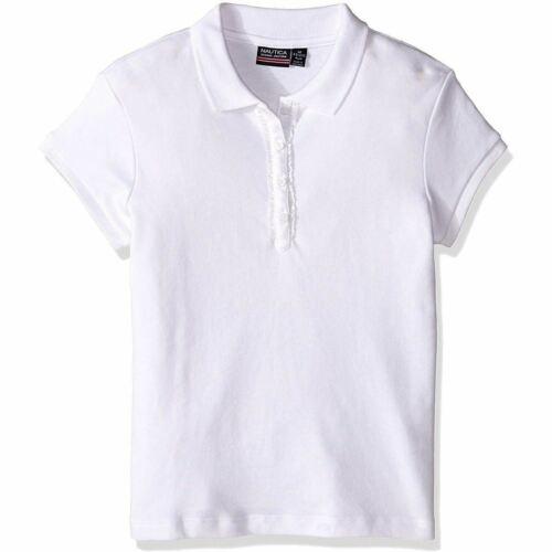 Big Kid Black /& White Nautica Girls/' School Uniform Ruffle Button Polo