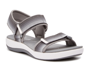 9aac3ebba932 Image is loading NEW-CLARKS-CLOUDSTEPPERS-BRIZO-RAVENA-GRAY-STRAPPY-SANDALS-