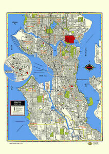 Seattle Map Poster Washington Puget Sound Queen Anne Ballard Capitol Fremont